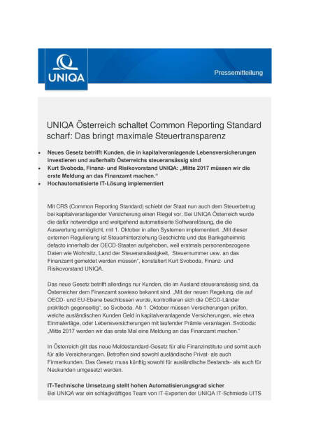 Uniqa: Common Reporting Standard, Seite 1/3, komplettes Dokument unter http://boerse-social.com/static/uploads/file_1845_uniqa_common_reporting_standard.pdf