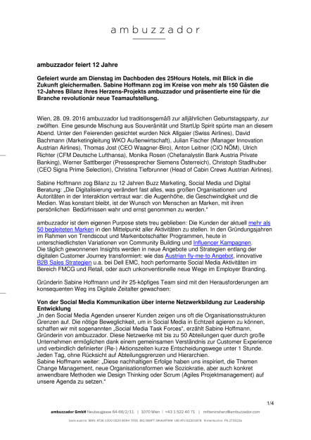 ambuzzador feiert 12 Jahre, Seite 1/4, komplettes Dokument unter http://boerse-social.com/static/uploads/file_1848_ambuzzador_feiert_12_jahre.pdf