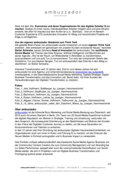 ambuzzador feiert 12 Jahre, Seite 2/4, komplettes Dokument unter http://boerse-social.com/static/uploads/file_1848_ambuzzador_feiert_12_jahre.pdf