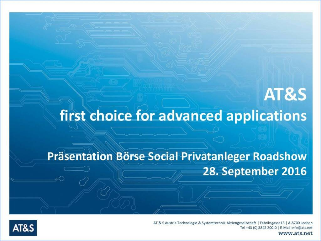 AT&S First choice for advanced applications (29.09.2016)