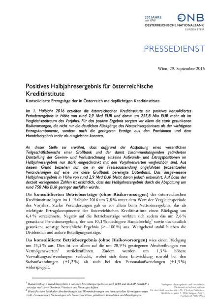 OeNB: Positives Halbjahresergebnis für österreichische Kreditinstitute, Seite 1/2, komplettes Dokument unter http://boerse-social.com/static/uploads/file_1850_oenb_positives_halbjahresergebnis_fur_osterreichische_kreditinstitute.pdf