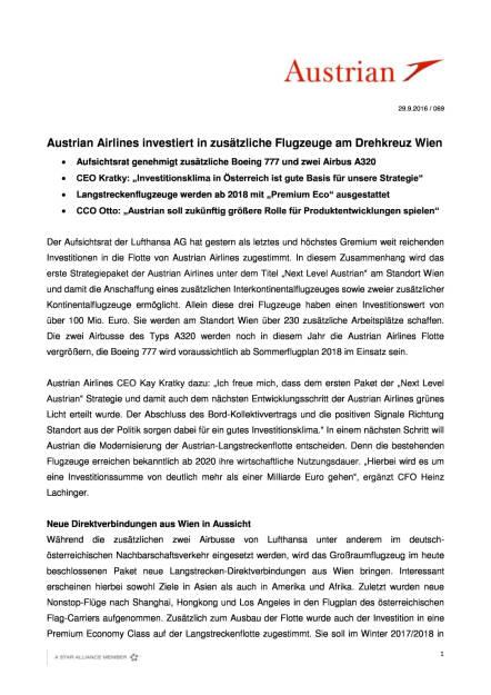 Austrian Airlines investiert in zusätzliche Flugzeuge am Drehkreuz Wien, Seite 1/4, komplettes Dokument unter http://boerse-social.com/static/uploads/file_1853_austrian_airlines_investiert_in_zusatzliche_flugzeuge_am_drehkreuz_wien.pdf