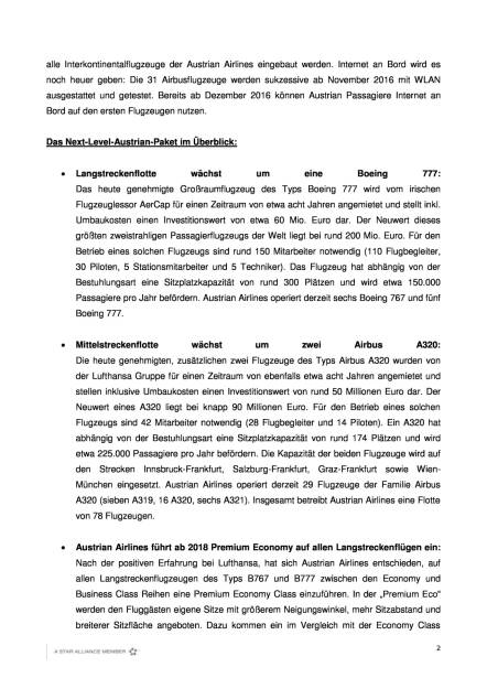 Austrian Airlines investiert in zusätzliche Flugzeuge am Drehkreuz Wien, Seite 2/4, komplettes Dokument unter http://boerse-social.com/static/uploads/file_1853_austrian_airlines_investiert_in_zusatzliche_flugzeuge_am_drehkreuz_wien.pdf