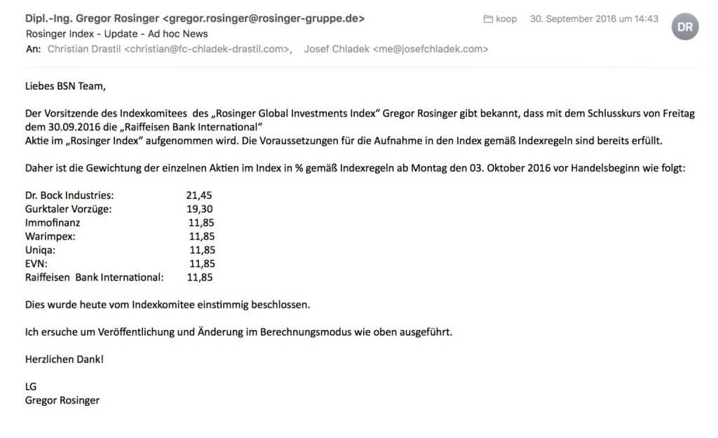 Indexevent Rosinger-Index 15: Aufnahme RBI per Schlusskurse 30.9. (03.10.2016)