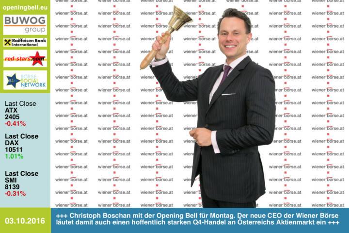 #openingbell am 3.10.: Christoph Boschan mit der Opening Bell für Montag. Der neue CEO der Wiener Börse läutet damit auch einen hoffentlich starken Q4-Handel an Österreichs Aktienmarkt ein http://www.wienerborse.at http://www.openingbell.eu