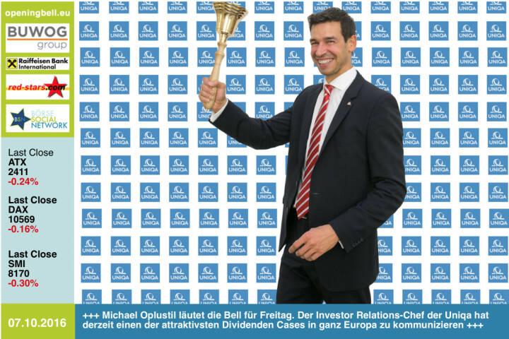 #openingbell am 7.10.: Michael Oplustil läutet die Opening Bell für Freitag. Der Investor Relations-Chef der Uniqa hat derzeit einen der attraktivsten Dividenden Cases in ganz Europa zu kommunizieren http://www.uniqa.at http://www.openingbell.eu