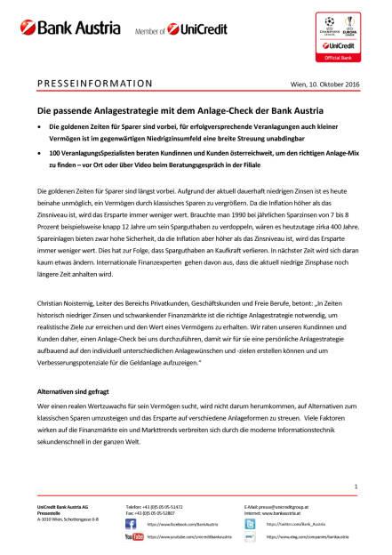 Bank Austria Anlage-Check, Seite 1/2, komplettes Dokument unter http://boerse-social.com/static/uploads/file_1884_bank_austria_anlage-check.pdf (10.10.2016)