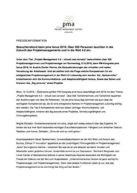 Projekt Management Austria: pma focus 2016, Seite 1/2, komplettes Dokument unter http://boerse-social.com/static/uploads/file_1886_projekt_management_austria_pma_focus_2016.pdf (10.10.2016)