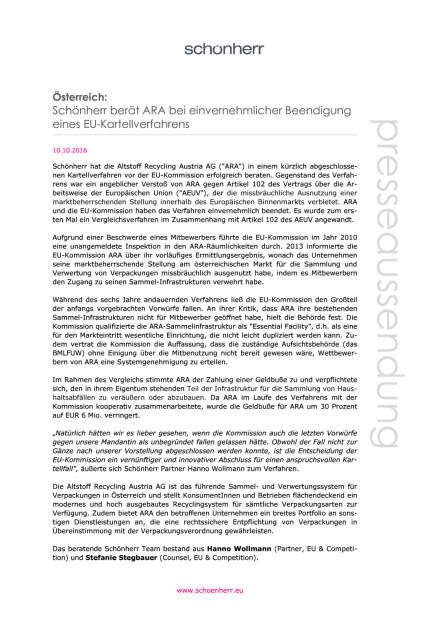 Schönherr berät ARA bei einvernehmlicher Beendigung eines EU-Kartellverfahrens, Seite 1/2, komplettes Dokument unter http://boerse-social.com/static/uploads/file_1887_schonherr_berat_ara_bei_einvernehmlicher_beendigung_eines_eu-kartellverfahrens.pdf (10.10.2016)
