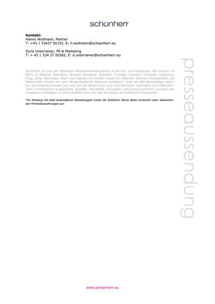 Schönherr berät ARA bei einvernehmlicher Beendigung eines EU-Kartellverfahrens, Seite 2/2, komplettes Dokument unter http://boerse-social.com/static/uploads/file_1887_schonherr_berat_ara_bei_einvernehmlicher_beendigung_eines_eu-kartellverfahrens.pdf (10.10.2016)