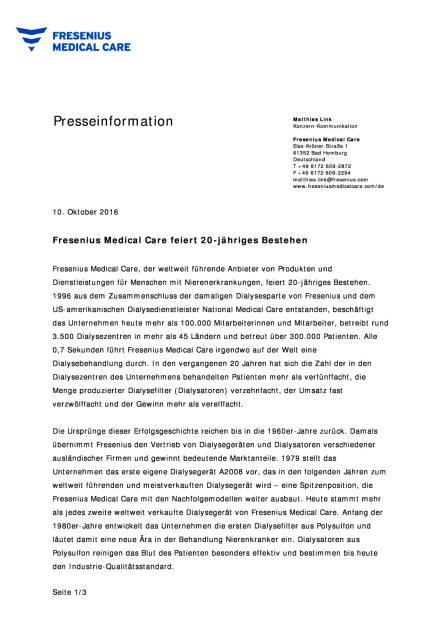 Fresenius Medical Care feiert 20-jähriges Bestehen, Seite 1/3, komplettes Dokument unter http://boerse-social.com/static/uploads/file_1888_fresenius_medical_care_feiert_20-jahriges_bestehen.pdf (10.10.2016)