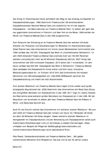 Fresenius Medical Care feiert 20-jähriges Bestehen, Seite 2/3, komplettes Dokument unter http://boerse-social.com/static/uploads/file_1888_fresenius_medical_care_feiert_20-jahriges_bestehen.pdf (10.10.2016)
