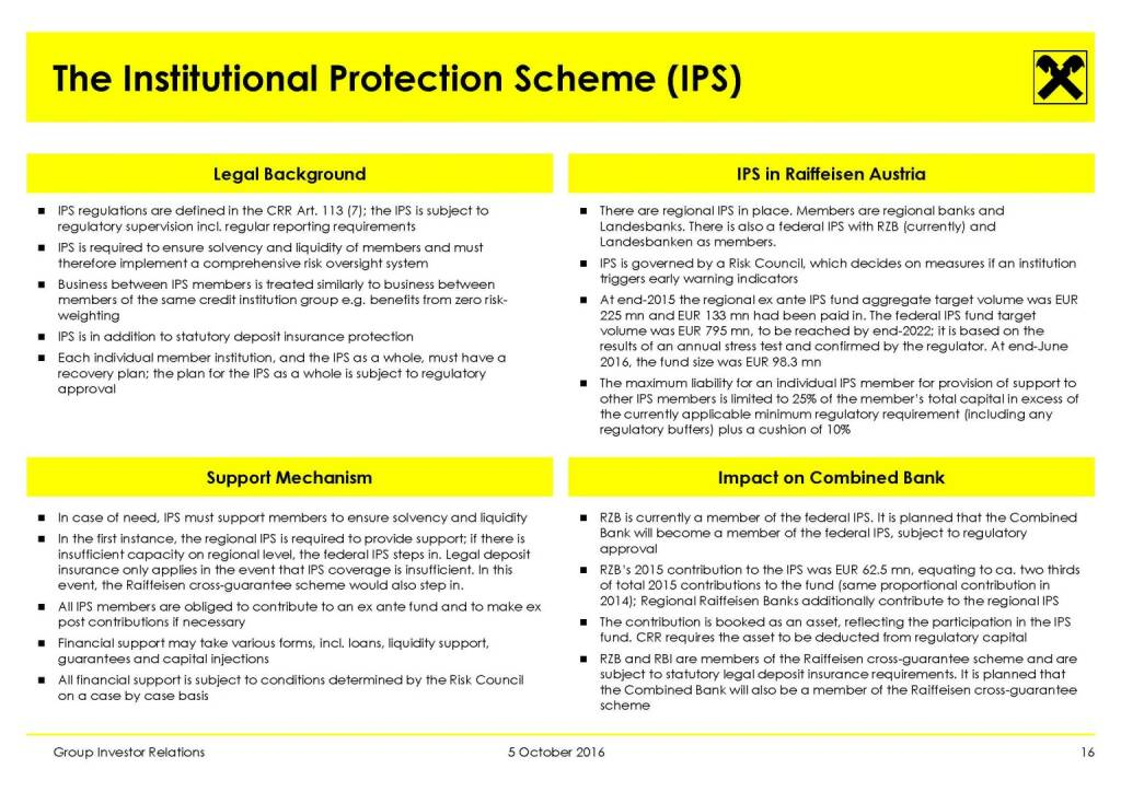 RBI - The Institutional Protection Scheme (IPS) (11.10.2016)