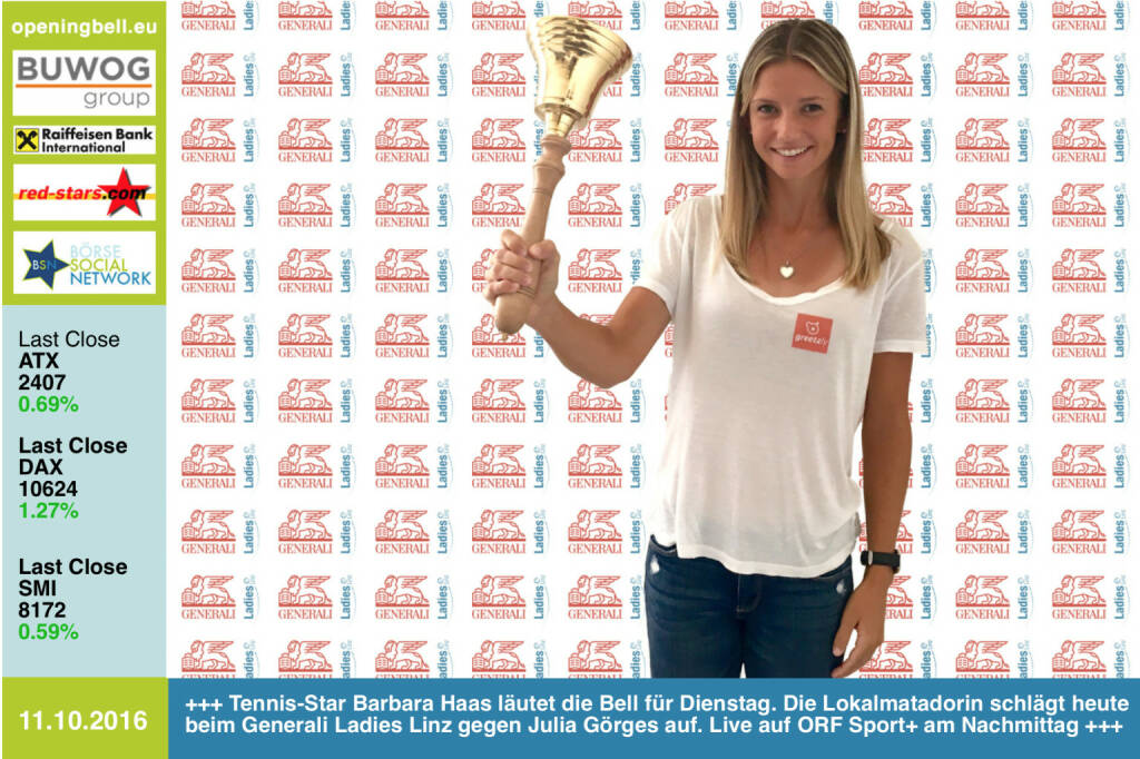 #openingbell am 11.10.: Tennis-Star Barbara Haas läutet die Opening Bell für Dienstag. Die Lokalmatadorin schlägt heute beim Generali Ladies Linz gegen Julia Görges auf. Live auf ORF Sport+ am Nachmittag http://www.generali-ladies.at/ http://tv.orf.at/program/orfsportplus/ https://www.facebook.com/barbarahaastennis/ http://www.openingbell.eu  (11.10.2016)