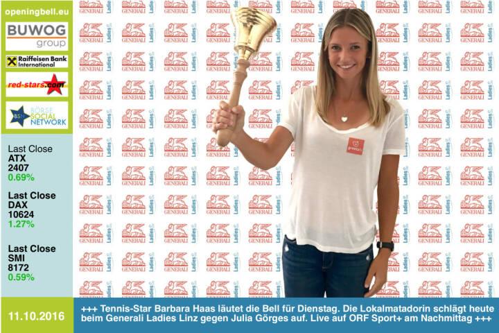 #openingbell am 11.10.: Tennis-Star Barbara Haas läutet die Opening Bell für Dienstag. Die Lokalmatadorin schlägt heute beim Generali Ladies Linz gegen Julia Görges auf. Live auf ORF Sport+ am Nachmittag http://www.generali-ladies.at/ http://tv.orf.at/program/orfsportplus/ https://www.facebook.com/barbarahaastennis/ http://www.openingbell.eu