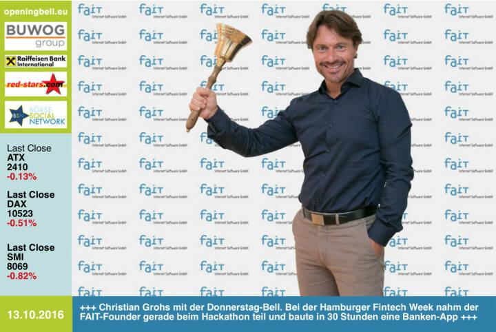 #openingbell am 13.10.: Christian Grohs mit der Opening Bell für Donnerstag. Bei der Hamburger Fintech Week nahm der FAIT-Founder gerade beim Hackathon teil und baute in 30 Stunden eine Banken-App http://www.fait.at https://www.bankathon.net http://openingbell.eu
