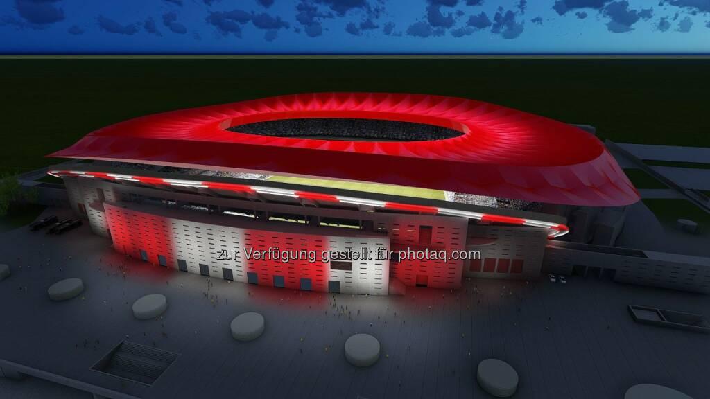 Stadion von Atletico Madrid : Philips Lighting ist offizieller Lichtpartner von Atletico Madrid : Weltweit erstes Stadion mit LED-Technologie am gesamten Gelände : Fotocredit:  Philips Lighting, © Aussendung (14.10.2016)