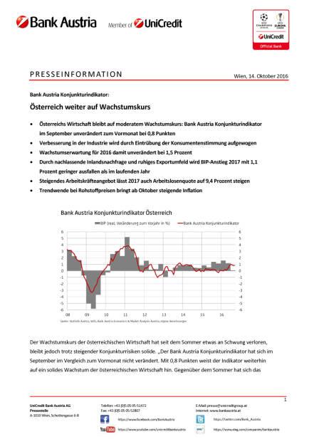 Bank Austria: Konjunkturindikator, Seite 1/6, komplettes Dokument unter http://boerse-social.com/static/uploads/file_1900_bank_austria_konjunkturindikator.pdf (14.10.2016)
