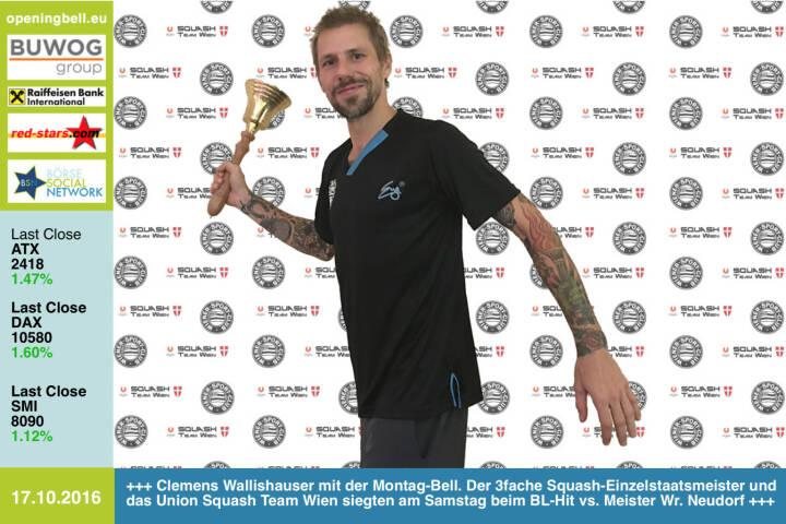 #openingbell am 17.10.: Clemens Wallishauser läutet die Opening Bell für Montag. Der 3fache Squash-Einzelstaatsmeister und das Union Squash Team Wien siegten am Samstag beim Bundesliga-Hit gegen den  Rekordmeister (und amtierenden Meister) Wr. Neudorf http://wsc.at/wp/ http://www.wienersportklub.at/verein/dornbach-networks http://www.dornbachnetworks.at/sportlerinnen/wsc-squashsektion http://www.c19-team.at/ http://www.openingbell.eu http://www.wsrv.at/ http://www.squash.or.at/