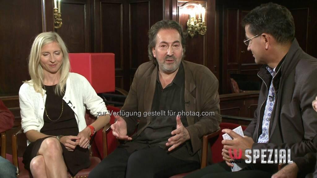 Jessica Hausner (Filmregisseurin), Hans Hurch (Festivaldirektor), Gerhard Koller (W24-Moderator) : Filmstadt Wien – Die 54. Viennale auf W24, dem Medienpartner des Filmfestivals : Fotocredit: W24, © Aussendung (17.10.2016)