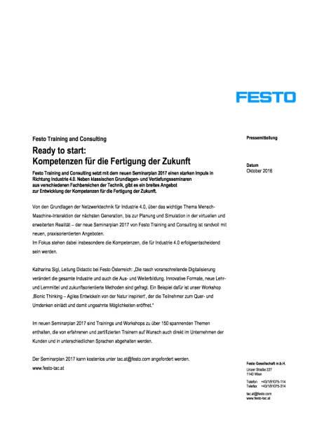 Festo: Seminarplan 2017 von Training and Consulting, Seite 1/2, komplettes Dokument unter http://boerse-social.com/static/uploads/file_1906_festo_seminarplan_2017_von_training_and_consulting.pdf (17.10.2016)