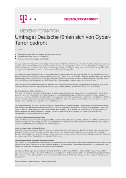 Deutsche Telekom: Umfrage zu Cyber-Sicherheit, Seite 1/2, komplettes Dokument unter http://boerse-social.com/static/uploads/file_1907_deutsche_telekom_umfrage_zu_cyber-sicherheit.pdf (17.10.2016)