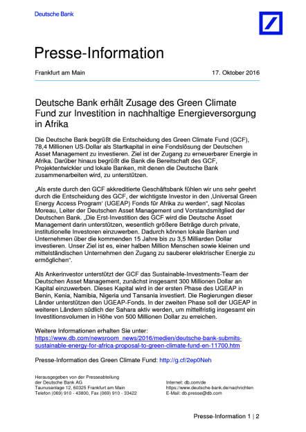 Deutsche Bank: Green Climate Fund, Seite 1/2, komplettes Dokument unter http://boerse-social.com/static/uploads/file_1908_deutsche_bank_green_climate_fund.pdf (17.10.2016)