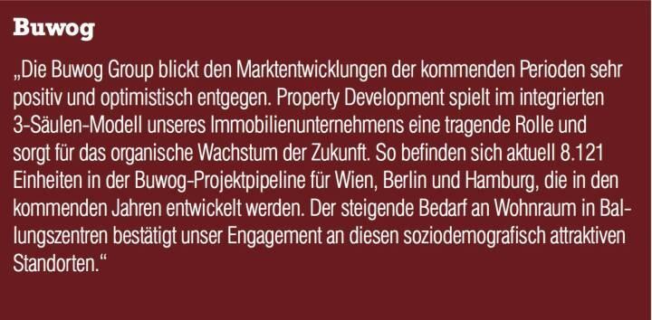"""Buwog - """"Die Buwog Group blickt den Marktentwicklungen der kommenden Perioden sehr positiv und optimistisch entgegen. Property Development spielt im integrierten 3-Säulen-Modell unseres Immobilienunternehmens eine tragende Rolle und sorgt für das organische Wachstum der Zukunft. So befinden sich aktuell 8.121 Einheiten in der Buwog-Projektpipeline für Wien, Berlin und Hamburg, die in den kommenden Jahren entwickelt werden. Der steigende Bedarf an Wohnraum in Ballungszentren bestätigt unser Engagement an diesen soziodemografisch attraktiven Standorten."""""""