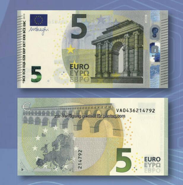 Alter und neuer 5 Euro Schein, © OeNB (30.04.2013)