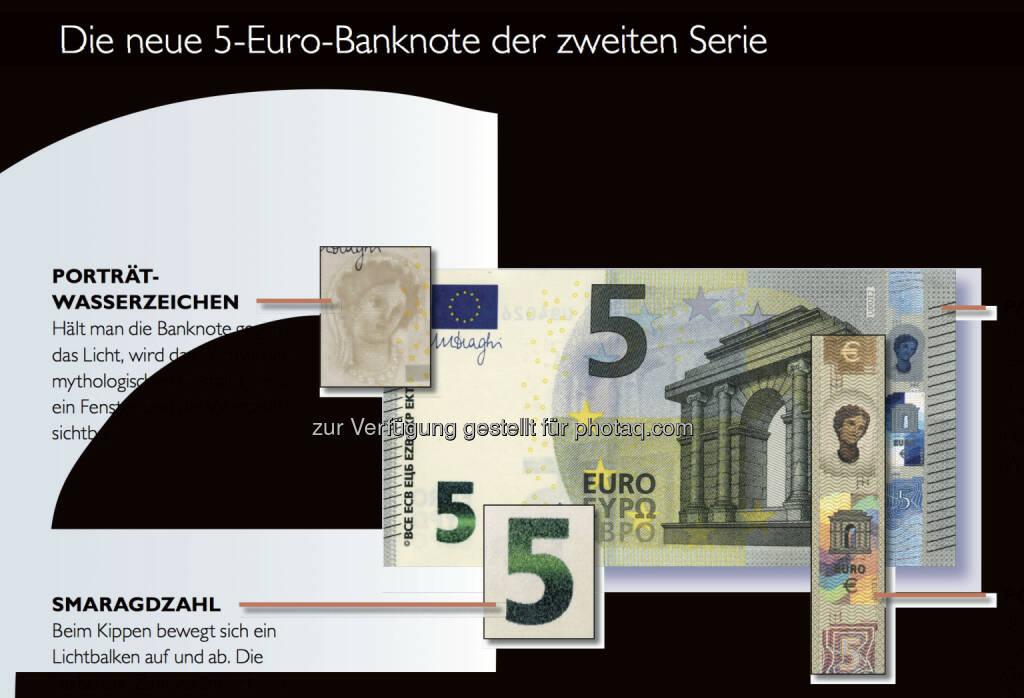 Der neue 5 Euro Schein - Sicherheitsmerkmale, © OeNB (30.04.2013)