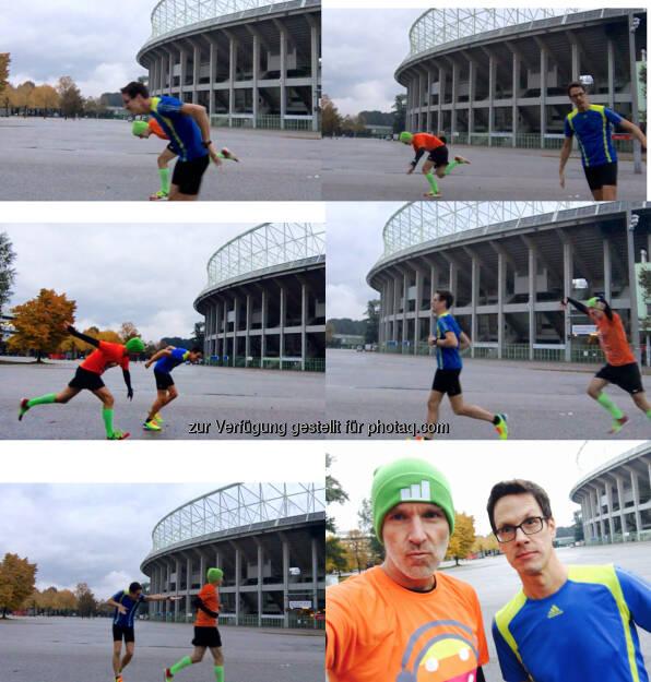 Christian Scheid und Christian Drastil mit dem Zieleinlauf aus mehreren Blickwinkeln (21.10.2016)