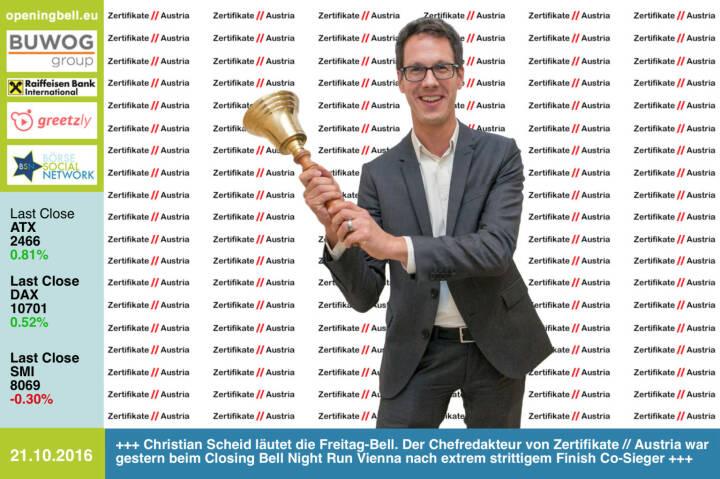 #openingbell am 21.10.: Christian Scheid läutet die Freitag-Bell. Der Chefredakteur von Zertifikate // Austria war gestern beim Closing Bell Night Run Vienna nach extrem strittigem Finish Co-Sieger, hier einige Bilder vom Zieleinlauf http://runplugged.com/2016/10/21/totes_rennen_beim_closing_bell_night_run_vienna_christian_drastil_via_runplugged_runkit  http://www.zertifikate-austria.at http://www.openingbell.eu