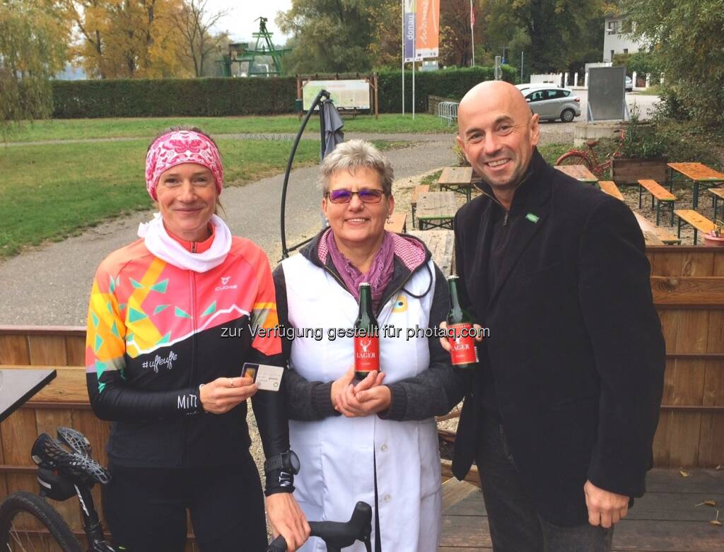 mit Frau Lukic (Donaublick) und Herrn Aistleitner von Hubertus Bräu (21.10.2016)