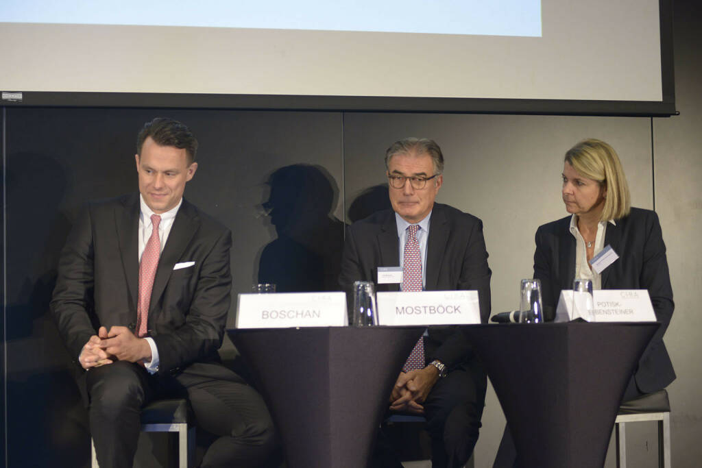 Christoph Boschan (Wiener Börse AG), Fritz Mostböck  (Erste Group Bank AG, ÖVFA), Barbara Potisk-Eibensteiner (RHI AG)