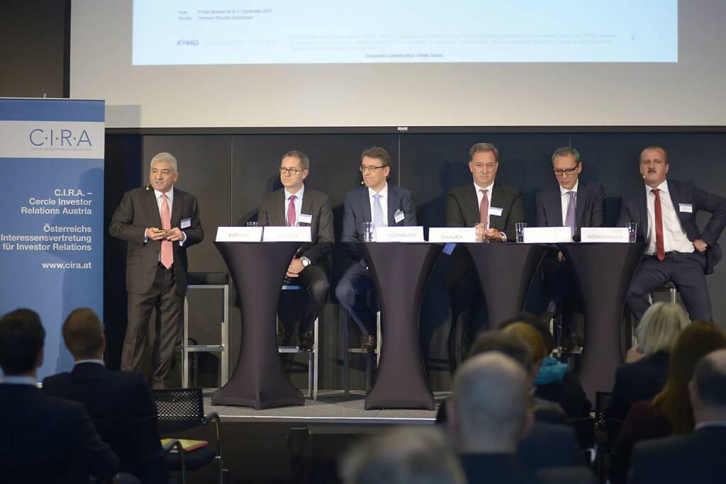 Peter Kirkow (KPMG Makinson Cowell), Günther Artner (Erste Group Bank AG), Harald Hagenauer (Österr. Post), Nico Baader (Baader Bank AG), Willi Celeda (Raiffeisen Centrobank AG), Alois Wögerbauer (3 Banken-Generali Investment-Gesellschaft m.b.H.)