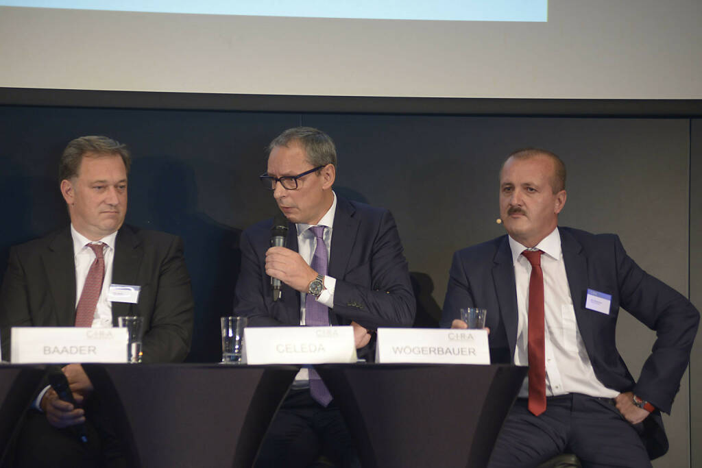 Nico Baader (Baader Bank AG), Willi Celeda (Raiffeisen Centrobank AG), Alois Wögerbauer (3 Banken-Generali Investment-Gesellschaft m.b.H.), © C.I.R.A./APA-Fotoservice/Bargad Fotograf/in: Nadine Bargad (23.10.2016)