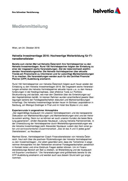 Helvetia Investmenttage 2016: Hochwertige Weiterbildung für Finanzdienstleister, Seite 1/3, komplettes Dokument unter http://boerse-social.com/static/uploads/file_1923_helvetia_investmenttage_2016_hochwertige_weiterbildung_fur_finanzdienstleister.pdf