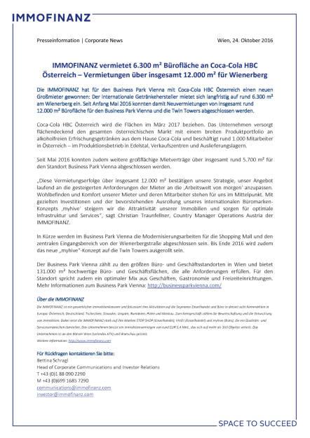 Immofinanz vermietet Bürofläche an Coca-Cola HBC Österreich, Seite 1/1, komplettes Dokument unter http://boerse-social.com/static/uploads/file_1924_immofinanz_vermietet_buroflache_an_coca-cola_hbc_osterreich.pdf