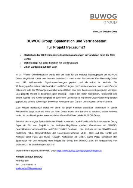 Buwog Group: Spatenstich und Vertriebsstart Karl-Nieschlag-Gasse, Seite 1/2, komplettes Dokument unter http://boerse-social.com/static/uploads/file_1925_buwog_group_spatenstich_und_vertriebsstart_karl-nieschlag-gasse.pdf