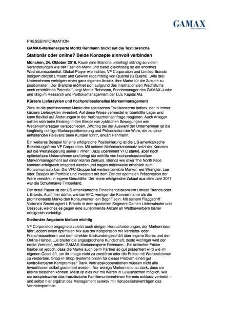 GAMAX-Markenexperte Moritz Rehmann: Textilbranche, Seite 1/2, komplettes Dokument unter http://boerse-social.com/static/uploads/file_1927_gamax-markenexperte_moritz_rehmann_textilbranche.pdf