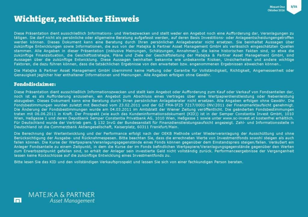 Wolfgang Matejka (Mozart One) - rechtlicher Hinweis (25.10.2016)