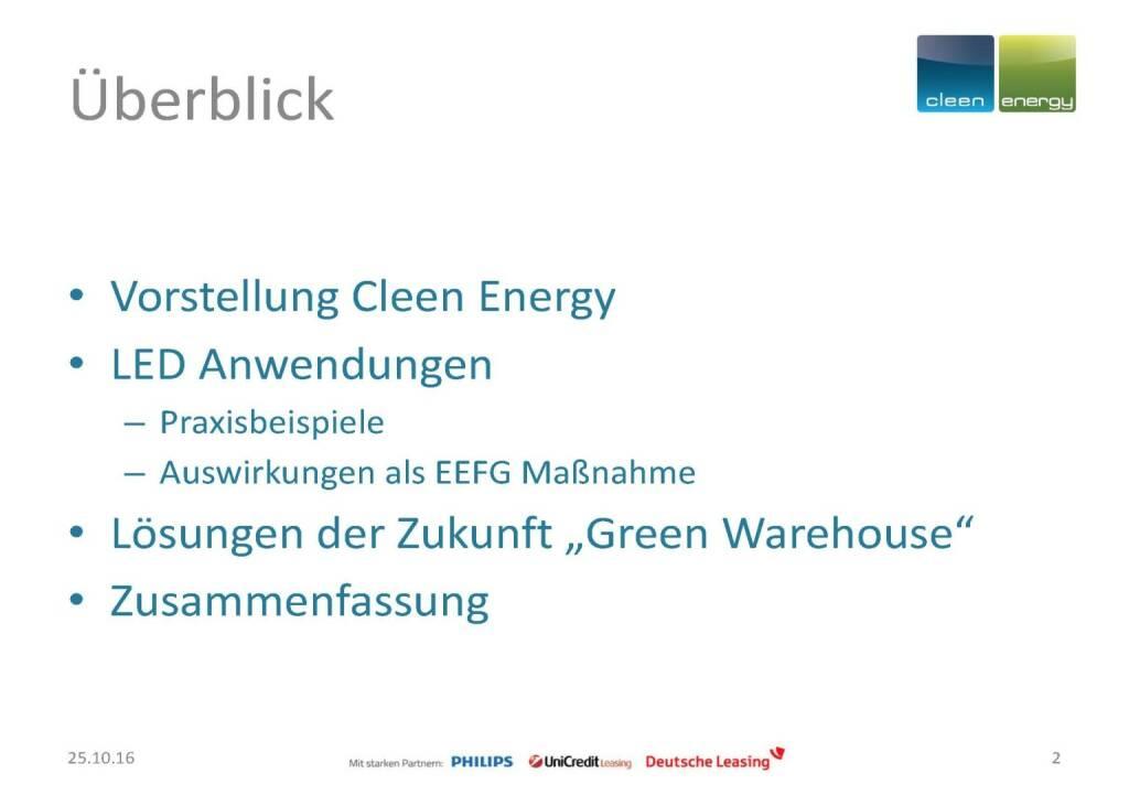 Cleen Energy - Überblick (25.10.2016)