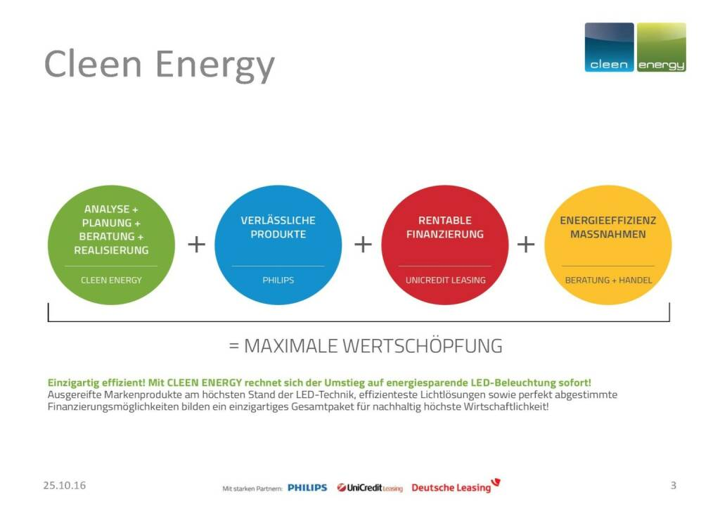 Cleen Energy - Wertschöpfung (25.10.2016)