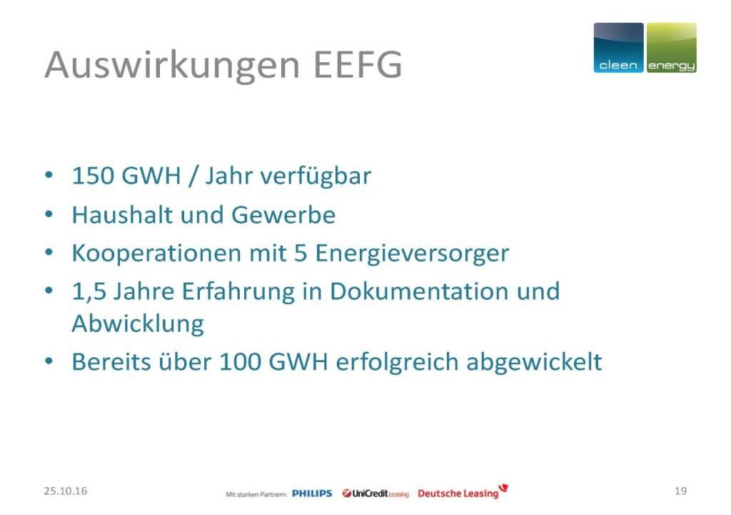 Cleen Energy - Auswirkungen EEFG (25.10.2016)