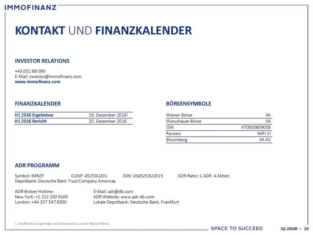 Immofinanz - Kontakt, Finanzkalender (25.10.2016)