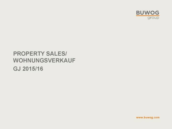 Buwog Group - Property Sales