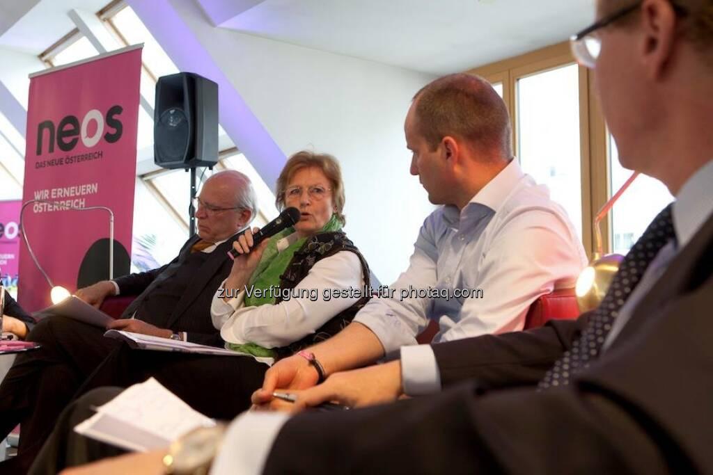 Neos: Podiumsdiskussion in der Neossphaere am 30. April 2013 mit Claus Raidl, Gudrun Biffl. Matthias Strolz und Georg Kapsch http://www.alexhalada.com (01.05.2013)
