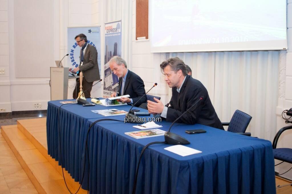Josef Chladek (BSN), Christian Drastil (BSN), Wolfgang Matejka (Matejka & Partner), Robert Gillinger (Börse Express), © Michaela Mejta (25.10.2016)