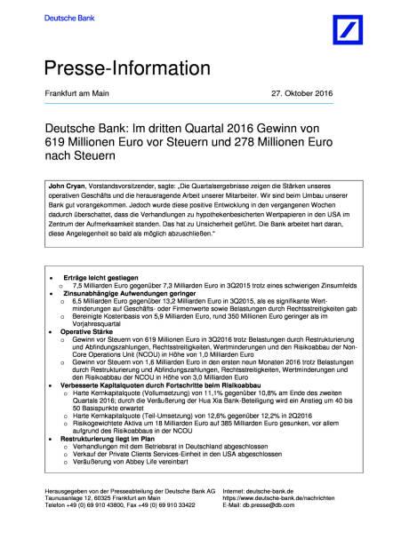 Deutsche Bank: 3. Quartal 2016, Seite 1/8, komplettes Dokument unter http://boerse-social.com/static/uploads/file_1936_deutsche_bank_3_quartal_2016.pdf (27.10.2016)