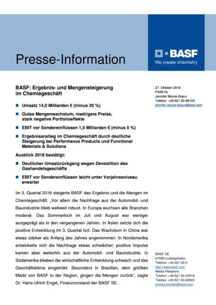 BASF: 3. Quartal 2016 - Ergebnis- und Mengensteigerung im Chemiegeschäft, Seite 1/6, komplettes Dokument unter http://boerse-social.com/static/uploads/file_1939_basf_3_quartal_2016_-_ergebnis-_und_mengensteigerung_im_chemiegeschaft.pdf (27.10.2016)